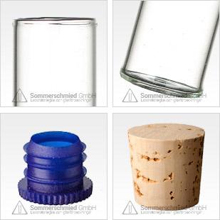 Glasbehallare med platt botten, flatbottnade, brunt glas och av AR-glas, transparenta och färgade proppar