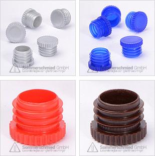 Räfflade korkar, färgade, stål-, glas-